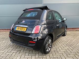 Zwarte Fiat 500S 1.2 cabrio